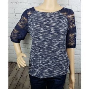 Anthropologie Speckled Navy Blouse Lace Sleeves